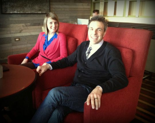 "The Jeffrey Braun Furniture ""brain trust"" relaxing in a new chair design in the hotel's bar!"